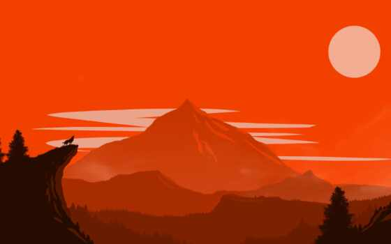 firewatch, red, art, game, fantasy, simple