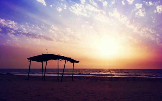 пляж, закат, настроение