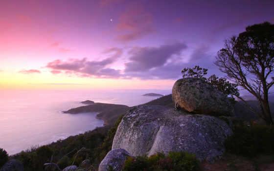 спокойствие, море, вечер, оранжевый, мост, берег,