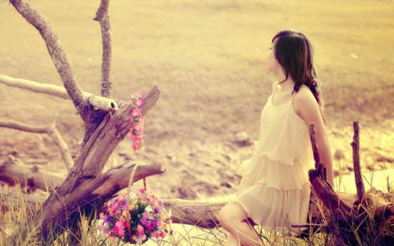 девушка, платье, pulpit, cvety, поле, легком, июл, tapeta,