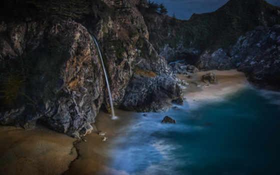 природа, resimleri, биг, водопад, sur, бумага, boy, hdr, rock, kalifornii