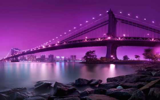 мост, anime, york, нью, manhettnyi, purple, скача, sana