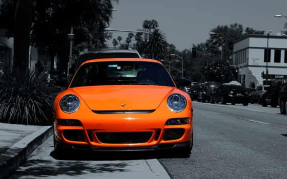 porsche, оранжевый, автомобили