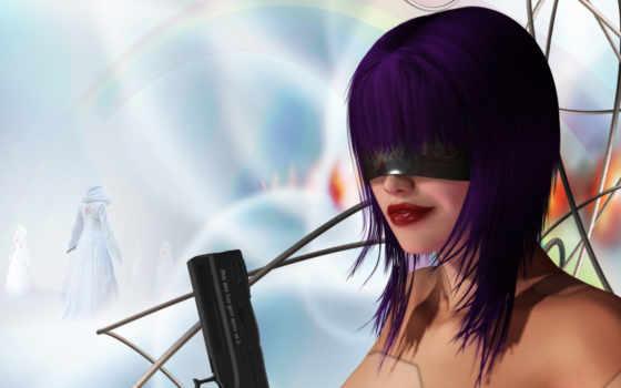 пистолет, девушка, рисунки, фотографий, оружие, провода, фиолетовые, волосы,
