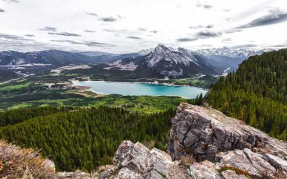 озеро, канада, шлагбаум, альберта, лес, гора, горы,