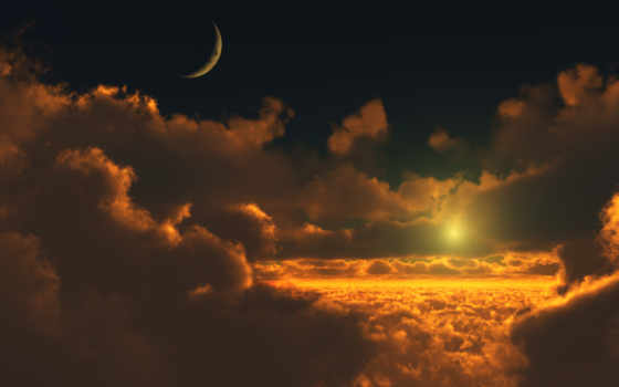 sun, луна, солнца, oblaka, луны, небо, cosmos, небе, land, сотовая,
