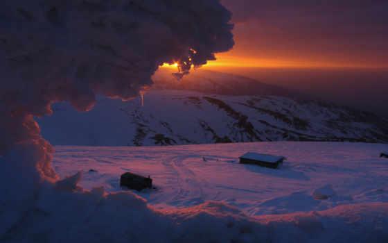 лед, снег, mountains, закат, winter, холод, упадок,