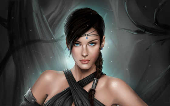 fantasy, blue, eyes, девушка, art, artwork, women, bare,