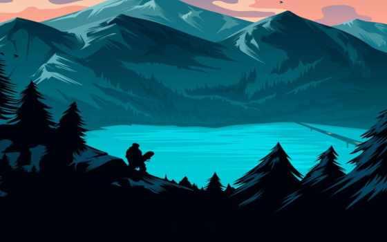 лес, небо, природа
