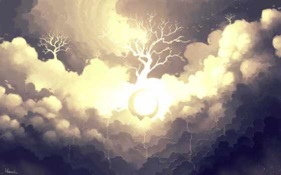 красивый, definiton, mobile, облако, дерево, окно