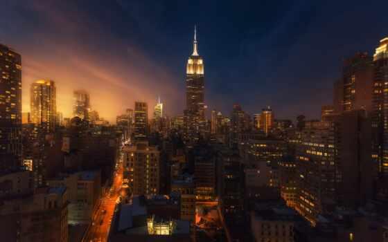 империя, state, build, ночь, new, york, art,