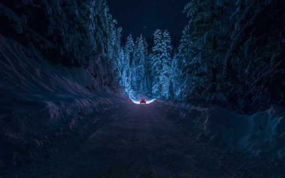 ночь, дорога, зима, болгария, кюстендил, снег, лес, машина, небо, свет, inhiu, звезды, drive, enchanting,