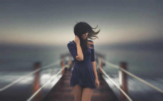 девушка, стоит, мостике