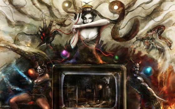 сюрреализм, art, девушка, tape, тв, демоны, бесы,