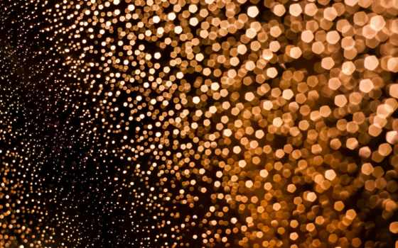 золотые, боке, желтые, оранжевый, дождь, огни, текстуры, макро,