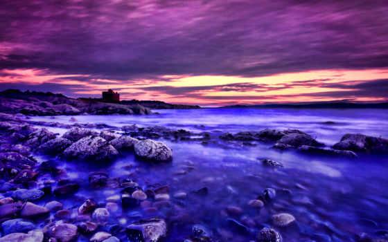 закат, purple, пост, красавица, море, берег, water,