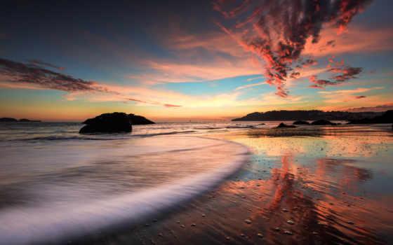 пляж, вечер, закат, море, rocks, природа, this,