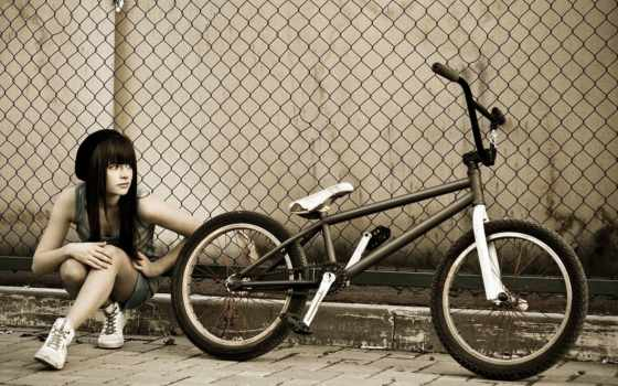 bike, bmx, девушка, забор,