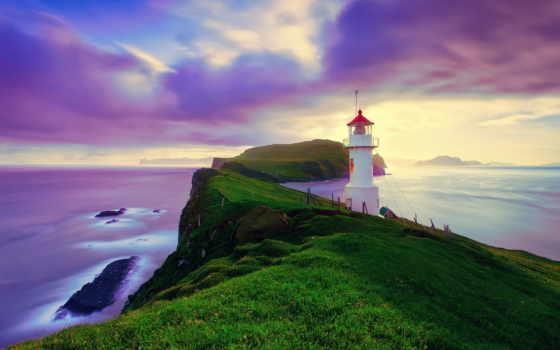 iceland, архипелаг, faroe, fone, природа, неба, фарерские, моря, lighthouse, острова,