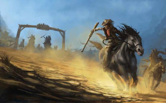 лошади, ковбои, pursuit, шляпы, оружие, живопись, mob, ковбой, imagens, cowboys, cavalo,
