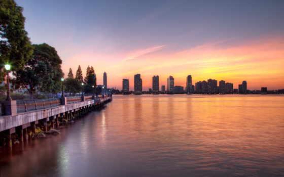 нью, закат, york, йорке, солнца, улыбка, города, rising, trees, небоскребы, йорка,