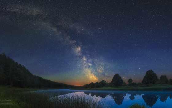 звезды, небо, природа, природный ландшафт, отражение, ночь, звезда, вода, атмосфера,  озеро,