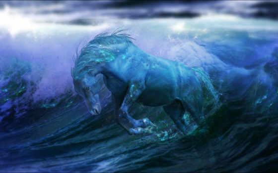 лошадь, синяя, fantasy