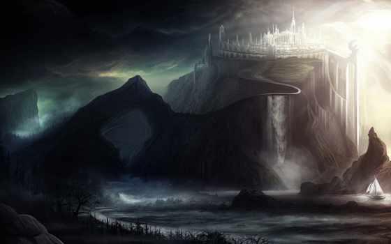 art, castle, тучи, город, landscape, скалы, мрачность, свет, sailboat, корабль,