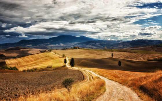 toscane, ecran, fond, des, arbres, fonds, collines, paysage, italie, ciel,