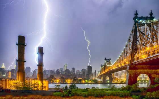 błyskawice, pioruny, wieżowce, tapety, самый, jork, nowy, lightning, burza, piorun,