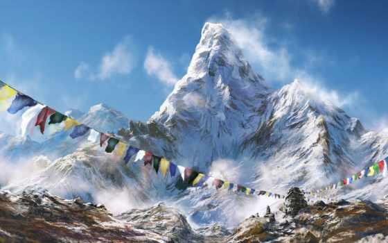 гималаи, tàng, nepal, tây, горы, треккинг,