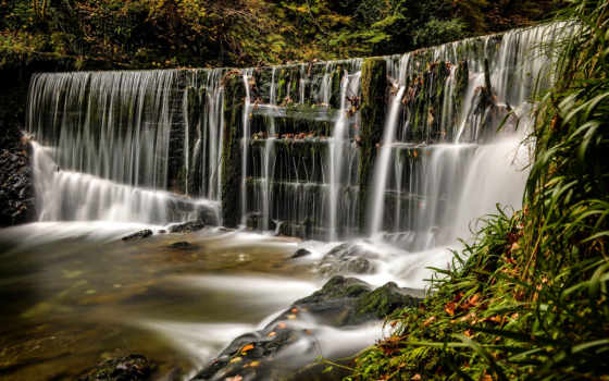 озеро, district, ambleside, stock, ghyll, falls, англия, сила, великобритания, водопад,