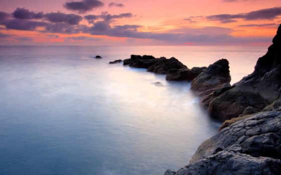 ocean, скалы, небо, water, закат, море, фотообои,