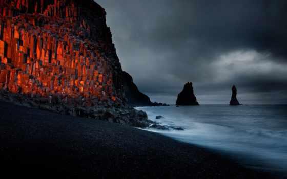 пляж, black, песок, iceland, outdoor, год, фотограф, фото, закат,