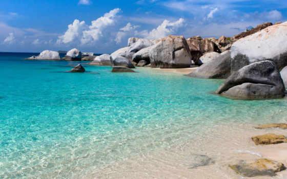 прозрачная, природа, страница, water, рай, море, небо, синее, oblaka, azure,