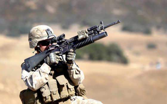 оружие, солдат, автомат, M4, экипировка, оптика, гранатомёт, планка пикатинни
