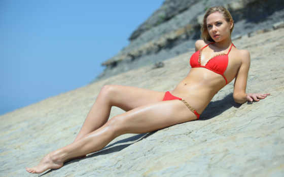 девушка, красивых, пляж