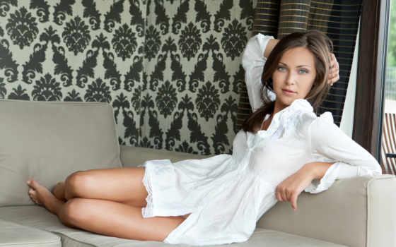 девушка, ножки, белом