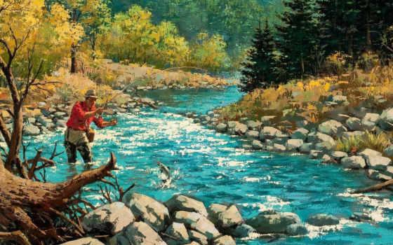 рыбалка, sarnoff, arthur, живопись, рисованные,
