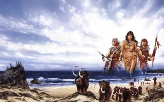 мамонты, først, девушка, шествуют, правда, взбираются, hill, близко, сзади, моря, древние,