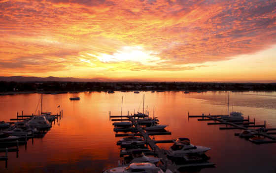 море, закат, берег, облако, оранжевый, sun, вечер, побережье, небо, яхта