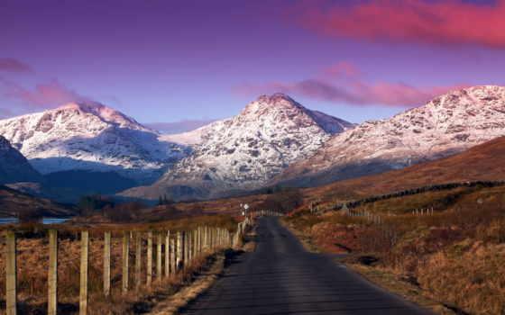 горы, дорога, landscape, пейзажи -, красивые, рельеф, красиві, взгляд, асфальт, колья,