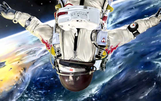 cosmos, art, скафандр, астронавт, planet, land,