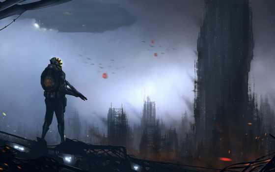 будущего, art, мужчина, оружие, космические, здания, landscape, фантастика, корабли,