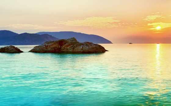 landscape, остров, море