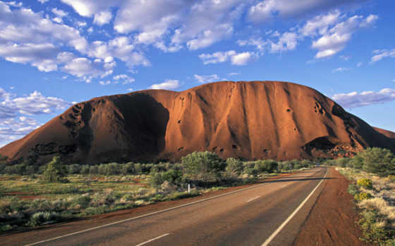 гора, rock, австралия, австралии, символ, айерс, улуру, овальной,