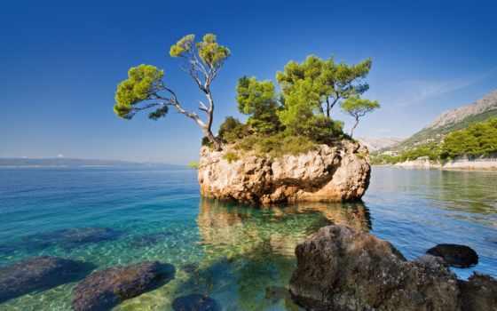 хорватия, brela, море, landscape, trees, rock, природа, хорватии, картинку,