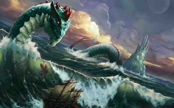море, змей, waves