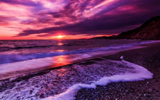 картинка, закат, пляж, море, сиреневый, goodfon,