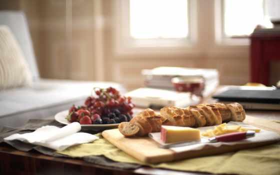 завтрак, утро, фрукты, сыр, французская, батон, coffee,